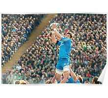 Clean line-out ball, Stadio Olimpico, Roma Poster