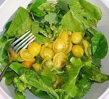 Yellow Tomato Salad Bowl With Fork by jojobob