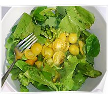 Yellow Tomato Salad Bowl With Fork Poster
