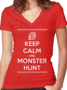 Keep Calm and Monster Hunt (White Text) Women's Fitted V-Neck T-Shirt