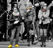 Silk scarves and yellow shoes, Via XX Settembre, Rome by Andrew Jones