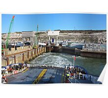 Ferry Boat Leaving The Port in Dover United Kingdom Poster