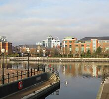 Residential buildings in Salford Quays Manchester by kirilart