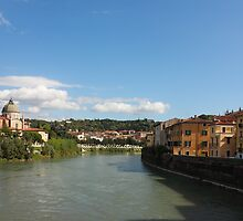 River Adige view in Verona by kirilart