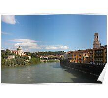 River Adige view in Verona Poster