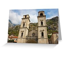 Facade of Cathedral in Kotor Greeting Card