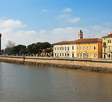 River Arno panoramic view with the old Citadel by kirilart
