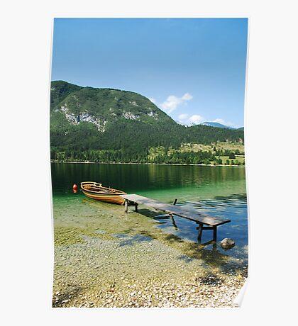 Boat at Lake Bohinj Shore Poster