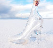 glass slipper on snow covered golf course by morrbyte