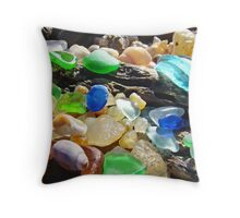 Seaglass Art Prints Coasta Beach Sea Glass Throw Pillow