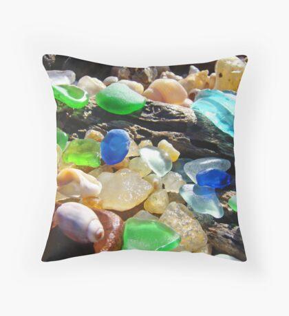 Seaglass Art Prints Coasta Beach Sea Glass Throw Pillow