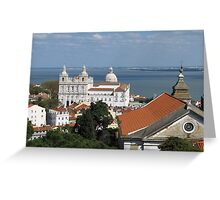 Lisbon Panoramic view toward The Vasco da Gama Bridge Greeting Card