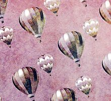 Vintage Hot Air Balloons Retro Floral Damask by GirlyTrend