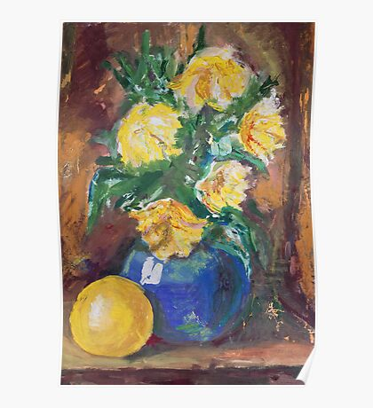 Yellow Flowers Bouquet painting Poster