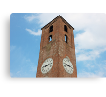 Antique Clock Tower on Blue Sky Background Canvas Print