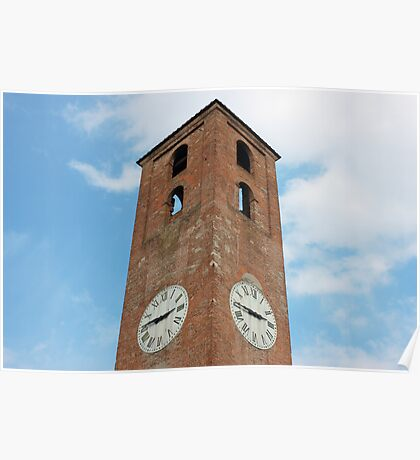 Antique Clock Tower on Blue Sky Background Poster