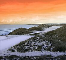 golf fairway with winter orange sunset sky by morrbyte
