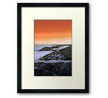 golf fairway with winter orange sunset sky Framed Print
