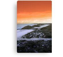 golf fairway with winter orange sunset sky Canvas Print