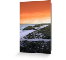 golf fairway with winter orange sunset sky Greeting Card