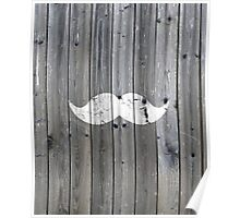 Funny vintage white mustache on gray wood Poster