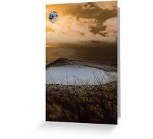 golf green with winter orange moonlit sky Greeting Card