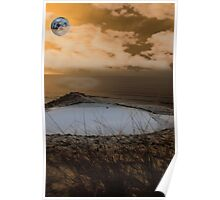 golf green with winter orange moonlit sky Poster