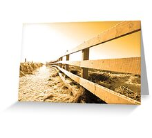 snow covered path on cliff fenced walk at sunset Greeting Card