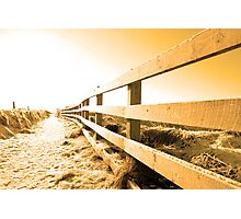 snow covered path on cliff fenced walk at sunset Photographic Print