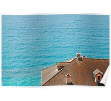 Roof Overlooking Sea Poster