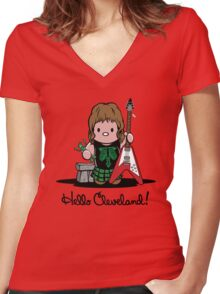 Hello Cleveland! Women's Fitted V-Neck T-Shirt