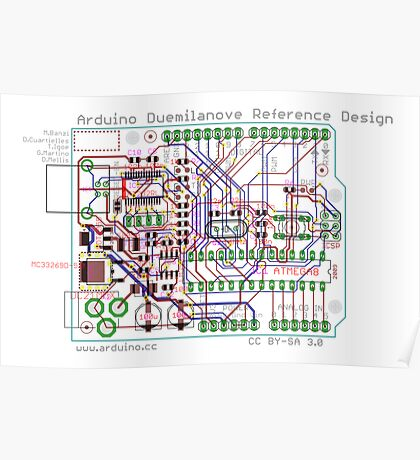 Arduino Duemilanove Reference Design - white Poster
