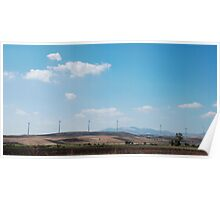 Row of Wind Turbines in South Italy Poster