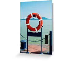 Red Life Ring by Lake Greeting Card