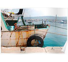 Rusted Fishing Trawler at Izola Poster
