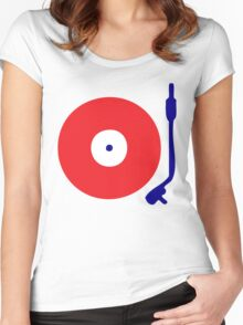 Red White Blue Turntable Women's Fitted Scoop T-Shirt
