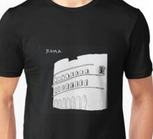 Roma Colosseum drawn with tired feet on a rainy night Unisex T-Shirt