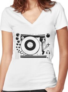 Vinyl Record Turntable Stencil Women's Fitted V-Neck T-Shirt