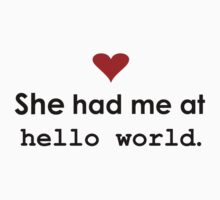 "Couple - She had me at ""Hello World"" (Light edition) Kids Clothes"