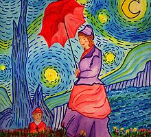A Monet Woman on a Van Gogh Starry Night by Anne Gitto