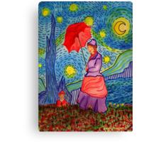 A Monet Woman on a Van Gogh Starry Night Canvas Print