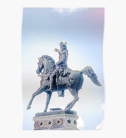 George Washington On His Horse  Poster