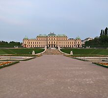 Distant view of Belvedere Palace in Vienna by kirilart