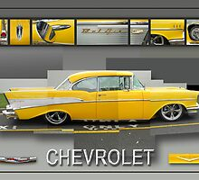 Photo Montage Yellow Chevrolet Belair Poster Graphic by Glenn Launerts