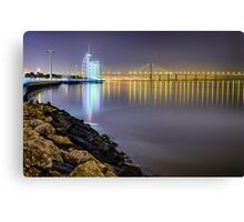 Lisbon Night Lights Canvas Print
