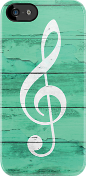 Hipster White Music Note Girly Turquoise Wood by GirlyTrend