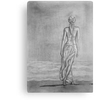 Lonely walk on the seashore Canvas Print