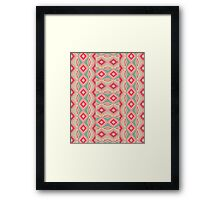 Girly Retro Turquoise Red Geometric Diamond shapes Framed Print