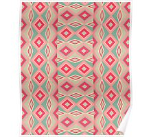 Girly Retro Turquoise Red Geometric Diamond shapes Poster