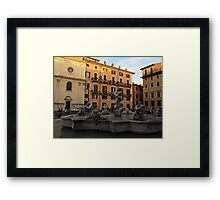 Piazza Navona with Fontana del Moro in Rome Framed Print
